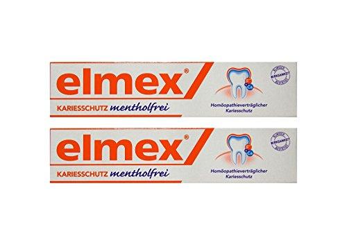 2x ELMEX mentholfrei Zahnpasta mit Faltschachtel 75ml PZN 04919378 Kariesschutz