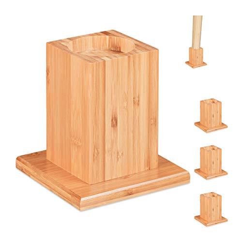 Relaxdays Möbelerhöher 4er Set, Erhöhung um 14 cm, für Tische, Betten und andere Möbel, HxBxT 15, 5x14,5 cm, Natur, 4 Stück
