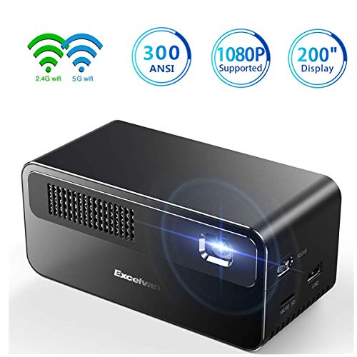 Excelvan Mini Projector,HD DLP Projector Support 1080P Android System Mirror Link Hi-Fi Speaker for Home and Small Meetings