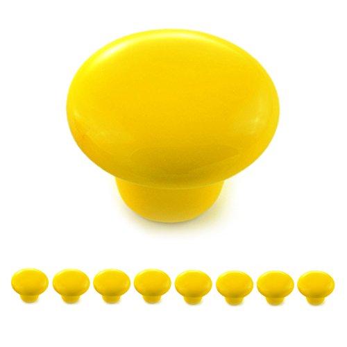 Ganzoo - Juego de 8 pomos de porcelana y cerámica amarillos para muebles, tiradores de puertas y armarios