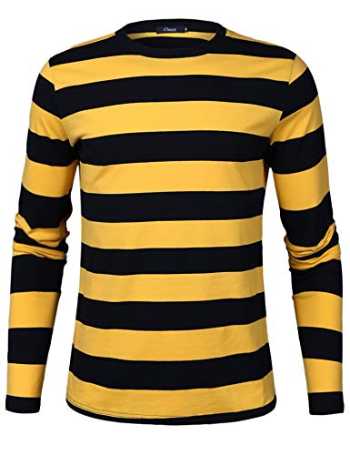 iClosam Men's Yellow and Black Striped Shirt Crew Neck Basic T-Shirt Long Sleeve Cotton Shirt (Yellow and Black, XX-Large) …
