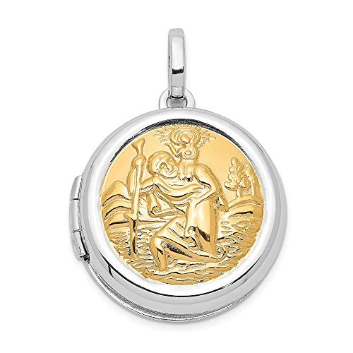925 Sterling Silver With 14k Gold Plated20mm Round St. Christophers Photo Locket Pendant Necklace Jewelry Gifts for Women