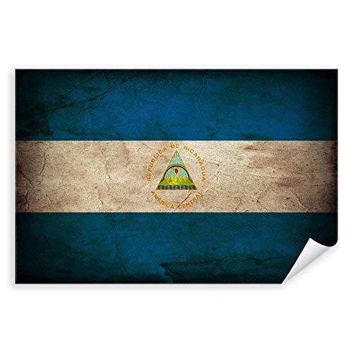 Postereck - 0348 - Vintage Flagge, Fahne Nicaragua Managua - Unterricht Klassenzimmer Schule Wandposter Fotoposter Bilder Wandbild Wandbilder - Leinwand - 100,0 cm x 75,0 cm