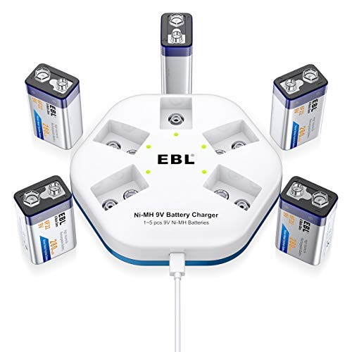 EBL 9V Akku 280mAh- Typ NiMH 9 Volt Block wiederaufladbare Batterien mit USB 9volt Akku Ladegeräte