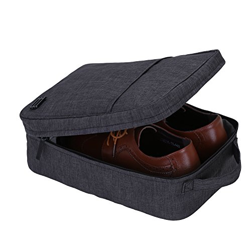 BAGSMART Portable Travel Shoe Bags with Zipper Closure Gym Sport Shoe Tote Bags, Black