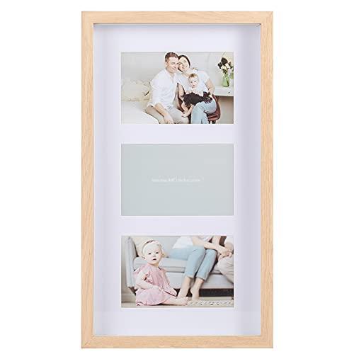 Muzilife 3D Box Bilderrahmen für 3 Fotos 10x15cm mit Passepartout Tiefe 3,5cm Glasscheibe DIY Holz Objektrahmen zum Befüllen Bildergalerie 21,5x40cm (Hell Natur)