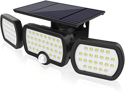 JESLED Solar Lights Outdoor with Motion Sensor 3 Heads Adjustable Security Spotlight 80LEDs product image