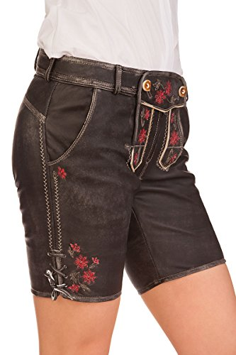 Spieth & Wensky Trachten Damen Lederhose kurz - FAYOLA - schwarz, Größe 36