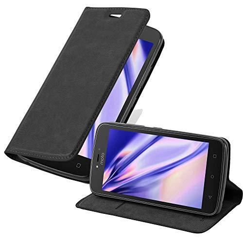 Cadorabo Hülle für Motorola Moto C Plus - Hülle in Nacht SCHWARZ – Handyhülle mit Magnetverschluss, Standfunktion und Kartenfach - Case Cover Schutzhülle Etui Tasche Book Klapp Style
