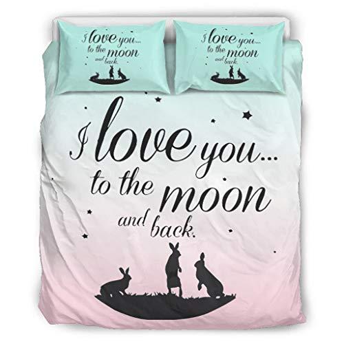 Twelve constellations Tagesdecke Quilt Bettwäsche Set I Love You to The Moon and Back Mikrofaser Ganzjährige - 1 Bettbezug and 2 Kissenbezüge für Jungen Schlafzimmer White 264x229cm