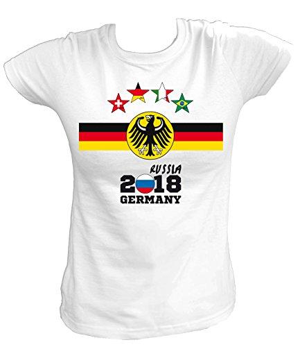 Artdiktat Damen T-Shirt - Deutschland Trikot Weltmeisterschaft 2018 Wunschname und -Nummer am Rücken - Vier Sterne Weltmeister - Russia Russland Fußball Größe M, Weiß