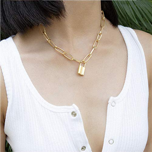 Cathercing Fashion Women Lock Pendant Necklace Long Stainless Steel Chain Punk Statement Choker Necklace for Women and Men Vintage Jewelry Unique Accessories (gold)