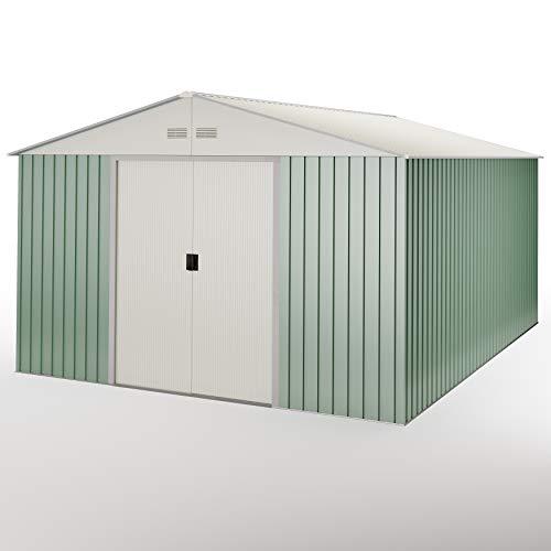 Caseta metálica verde/Beige para Almacenamiento 15,50 m2 343x452x223cm. Cobertizo jardin