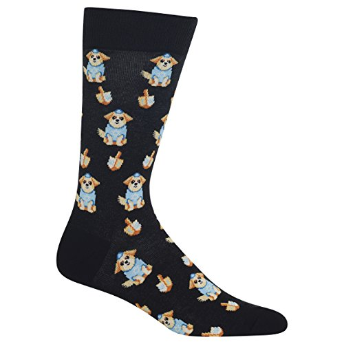 Hot Sox Men's Dreidel Dog Socks, Black, Men's Shoe Size 6-12.5