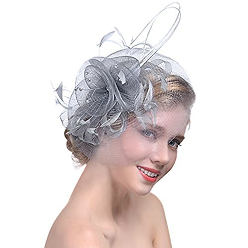 YJZQ Voile Mariage Femme Coiffure Chapeau Mariage Bibi mariage Chapeau Fleur Broche Béret à Pince avec Plume Décoré Accessoire de Cheveux Mini pour Mariage Cocktail et Fête