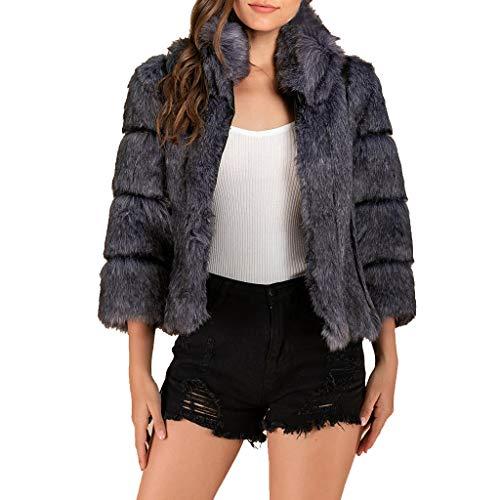 Plot Damen Faux Pelz Mantel Kurz Einfarbig Winter Elegant Warm Pelzmantel Wollmantel Kunstpelz Jacken Wintermantel Cardigan Sweatjacke Kurzjacke Outwear Coat