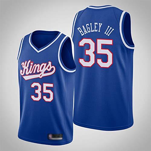 YZQ Jerseys De Baloncesto De Los Hombres, Sacramento Kings # 35 Marvin Bagley Uniformes De Baloncesto De La NBA Camisetas De Verano Tops Chalecos Casuales,Azul,M(170~175CM)