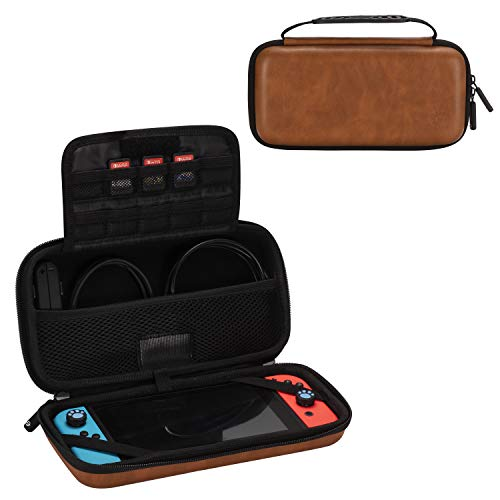 Comfyable Carrying Hard Case for Nintendo Switch with 10 Game Slots, Faux PU Leather Portable Travel Pouch Protective Waterproof Cover with Pocket for Accessories, Brown