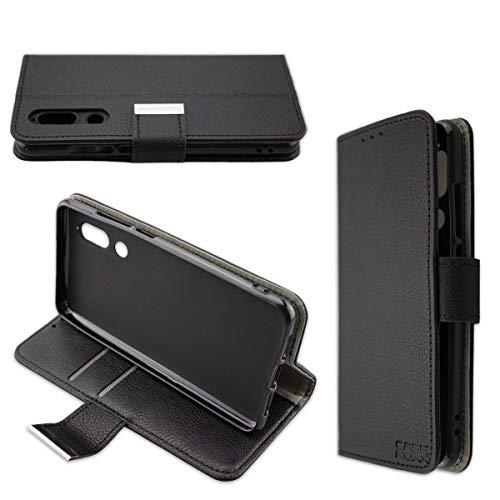 caseroxx Handy Hülle Tasche kompatibel mit Sharp Aquos C10 Bookstyle-Hülle Wallet Hülle in schwarz
