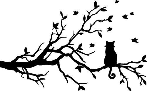 EmmiJules Wandtattoo Katze auf Ast- Made in Germany - verschiedene Größen und Farben - Baum Wohnzimmer Schlafzimmer Katzen Wandaufkleber Wandsticker (100cm x 60cm, schwarz)