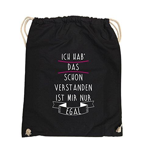 Comedy Bags - Ich hab das Schon verstanden, ist Mir nur egal - Turnbeutel - 37x46cm - Farbe: Schwarz/Weiss-Pink