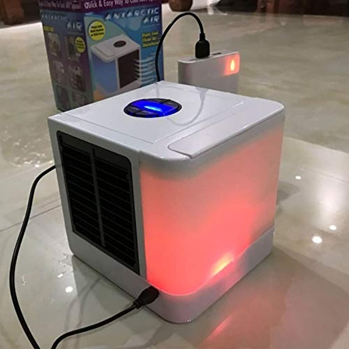 Max one Comlife Mini USB Air Conditioner Fan 3 in 1 Air Personal Space Cooler Mini Air Purifier Humidifier with 7 Colors LED Lights Air Circulator Fan