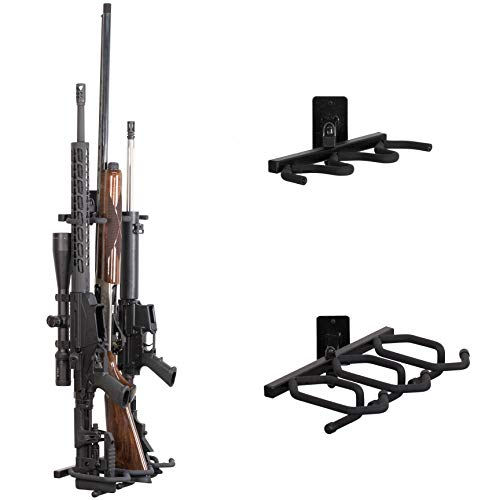 Hold Up Displays -Wall Mount Gun Rack Two Piece – Multi Angle Rifle Storage Holds 3 Shotguns or Rifles for Winchester Remington Ruger Firearms and More - Heavy Duty Steel - Made in USA