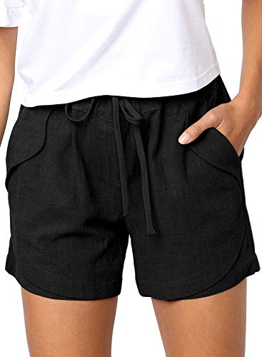 Dokotoo Womens Ladies Beach Casual Solid Drawstring Elastic Waist Loose Comfy Linen Shorts with Pocket Linen Shorts Pants Black X-Large