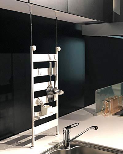 [山善] 突っ張りキッチンラック 幅31×奥行10×高さ72-115cm 掛ける・置ける・熱に強い フック6個 トレー2個 組立品 ホワイト RTK-30(WH)