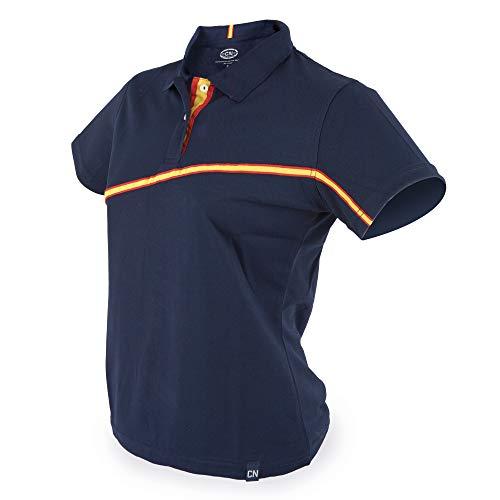 GARGOLA.ES OPERADORES DIGITALES Polo Deporte Mujer .Azul Marino - Colores Bandera de España - Dry & Fresh Tejido técnico. Talla L