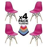 duehome - Nordik - Pack 4 sillas, Silla de Comedor, Salon, Cocina o Escritorio, Patas Madera Haya, Dimensiones: 47 x 56 x 81 cm de Altura (Fucsia)