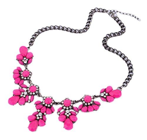 DELEY Vintage Blume Klobige Bubble Kette Bib Maxi Cluster Anweisung Choker Kragen Halskette Hot Pink