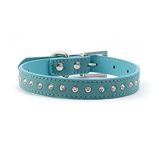 4yourpet Halsband voor honden, kattenhalsband, leer, met kristallen, M, Türkis
