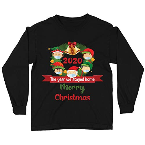 lepni.me Kids T Shirt Merry Christmas in Quarantine 2021 Stay at Home Together for Xmas Holidays (3-4 Years Black Multi Color)