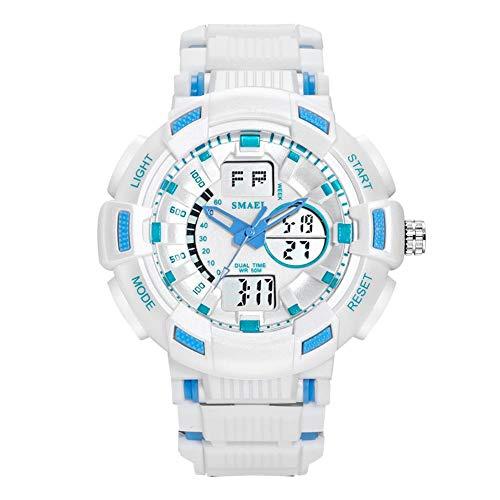 SMAEL Relojes Deportivos para Hombre Resistente Al Agua Digital Militares Relojes con Cuenta Atrás para Los Hombres Niños Grandes LED De Analógico Relojes De Pulsera para Hombre (Azul),Blanco
