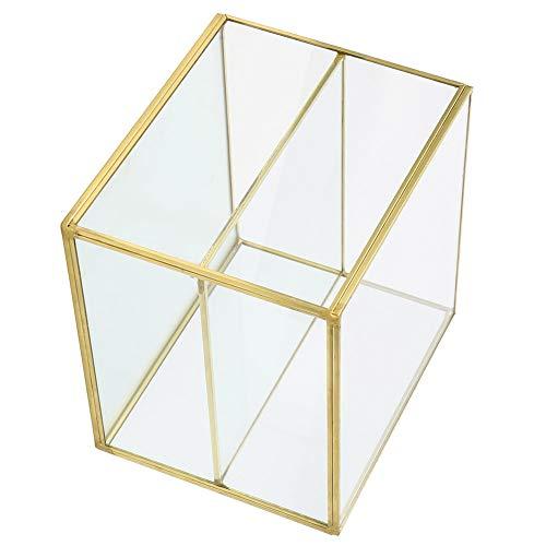 KAKAKE Soporte de Almacenamiento de Vidrio Dorado, Material de Vidrio y latón diseño de 2 Compartimentos Caja de Recuerdo de Vidrio Dorado para cosméticos para teléfonos móviles