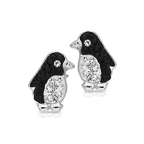 Cute Crystal Penguin Earrings Never Rust 925 Sterling Silver Natural and Hypoallergenic...