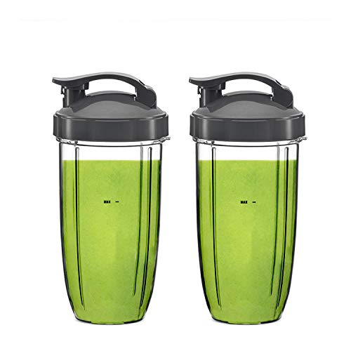 For Blender Replacement Parts 24 oz Tall Cups 2 Packs for Original NutriBullet Pro 900w 600w Extractor Blade Juicer Smoothie Cups with 2 Flip Top To Go Lids Mixer Attachment BPA Free Pitcher