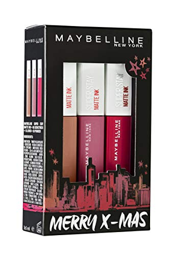 Maybelline New York Xmas Set Matte Ink, 20 Pioneer, 15 Lover, 65 Seductress, 98 G