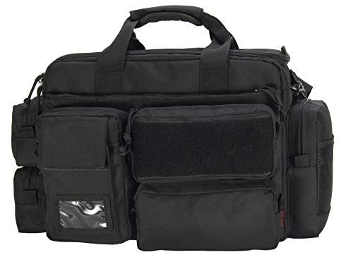 XMILPAX Range Bag Police Duty Bag Shooting Gear Bag Padded Field Equipment Bag for Gun, Pistol and Ammo Fitting 17.5in Laptop Black