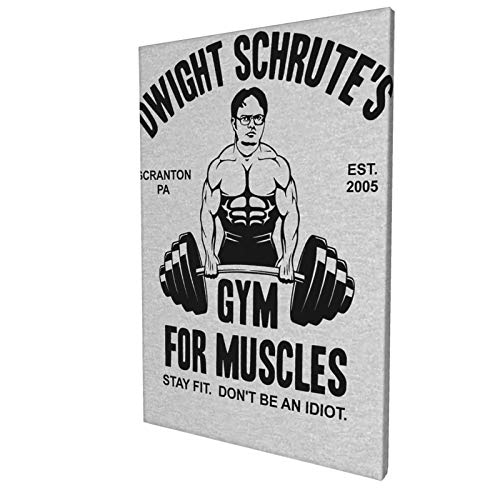 Wall Art Canvas Prints Shanion Dwight Schrute's Gym Muscles Pictures Painting Canvas Paintings Ready to Hang for Home Decorations Wall Decor 18x12inch
