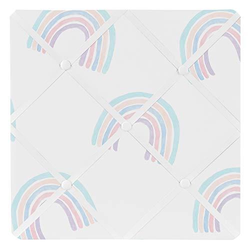 Sweet Jojo Designs Pastel Rainbow Fabric Memory Memo Photo Bulletin Board - Blush Pink, Purple, Teal, Blue and White