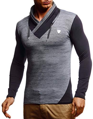 Leif Nelson Herren Sweatshirt Männer Langarmshirt Longsleeve Slim Fit Baumwolle-Anteil Basic Pulli weißes Sommer Pullover T-Shirt Langarm LN55125 Anthrazit Melange Large