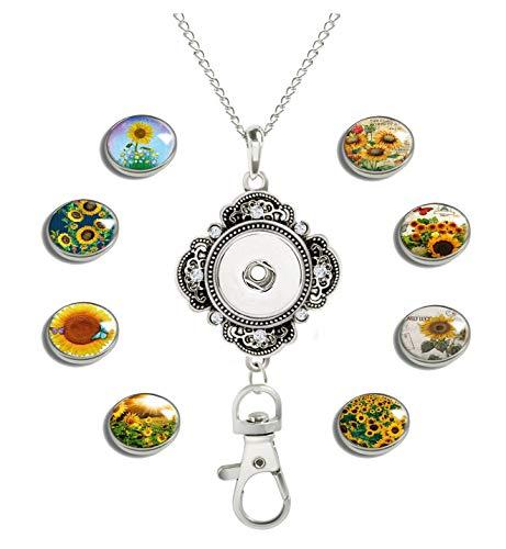 GDEE Damen Büro-Schlüsselband ID Badge Halter Halskette mit 8 Bildern Glas Snap Charms Schmuck Anhänger Clip L Sonnenblumenfeld 06
