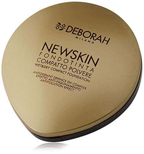 Deborah Fondotinta Newskin Compatto N.03 True Beige, con Antioxidant Defence DH Complex, per un'azione Anti Inquinamento, Nutriente e Rigenerante - Uso Wet&Dry