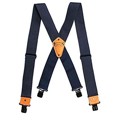 Melo Tough Men's Industrial Strength Suspenders Partial Elastic Tradesperson's Suspenders 2 inch Wide Tool Belt Suspenders (Navy Blue)