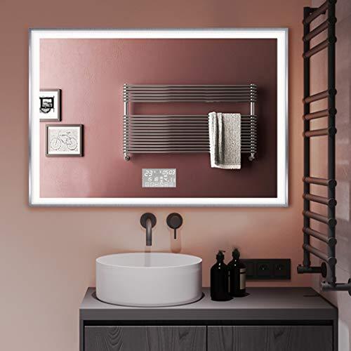 Moderne badkamerspiegel met ledlicht en extra eigenschappen, keuze uit schakelaars, warmtekussen, anti-condens, bluetooth-luidspreker, verlichte spiegel aan de muur gemonteerd.