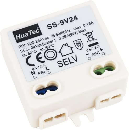 HuaTec Eaglerise Transformador LED 12V 24V 6W 9W 30W 60W 120W Tensión Constante Sin Parpadeo Flickerfree para Tira LED Alimentador Fuente de Alimentación LED (24V 9W)