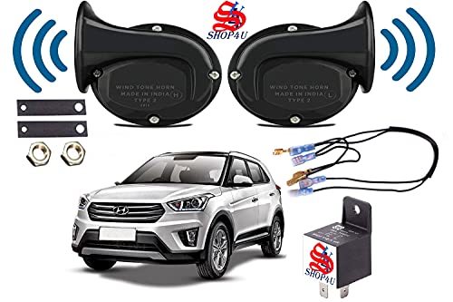 SHOP4U Square Shape Car Windtone Horn with Raley and Wire for Hyundai Creta (Set of 2 Horn with Relay and Wire, Black)