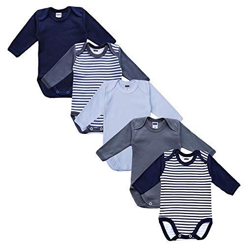 MEA BABY Unisex Baby Langarm Body aus 100% Baumwolle im 5er Pack, Baby Body mit Aufdruck, Baby Body für Mädchen, Baby Body für Jungen (62, Jungen)